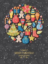 Christmas Background With 3d Paper Cut Signs. Cute Kids Toys And Accessories. Snowfall At The Back. New Year Greeting Card Or Banner Concept