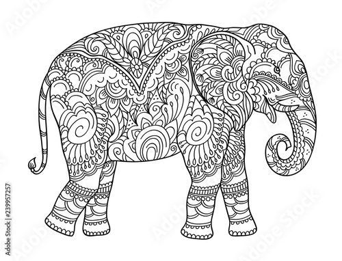 Drawing zentangle elephant, for coloring book for adult or other decorations Wallpaper Mural