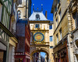 canvas print picture - The Gros-Horloge (Great-Clock) is a fourteenth-century astronomical clock in Rouen, Normandy, France