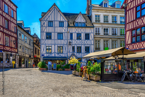 Cozy street with timber framing houses in Rouen, Normandy, France Canvas-taulu