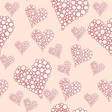 Cute  Red Scribbled Hearts Vector Seamless Pattern With  Pink Background.