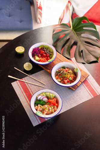Photo Healthy lunch bowl. Asian food