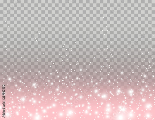 Pink glitter particles, shine confetti and glowing lights effect for