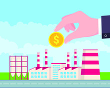 Factory Building Flat Style Vector Illustration. Businessmen Invest A Monye Golden Coin For Factory Plant. Concept Of Business Investment. Green Grass And Cloudy Sky Behind Scene.