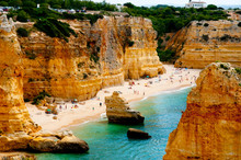 Beach In Algarve Coast - Portu...