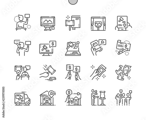 Photo Auction Well-crafted Pixel Perfect Vector Thin Line Icons 30 2x Grid for Web Graphics and Apps