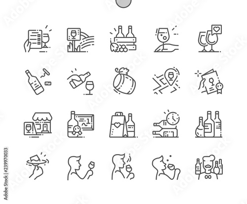 Carta da parati Wine Well-crafted Pixel Perfect Vector Thin Line Icons 30 2x Grid for Web Graphics and Apps