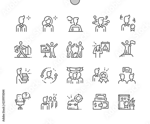 Office Workers Well-crafted Pixel Perfect Vector Thin Line Icons 30 2x Grid for Web Graphics and Apps Canvas Print