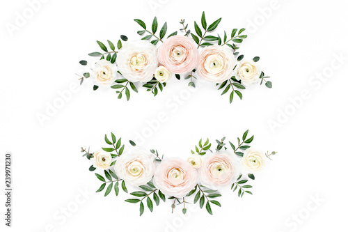 Foto op Canvas Bloemen Floral frame wreath of pink ranunculus flower buds and eucalyptus on white background. Flat lay, top view mockup. Frame of flowers.