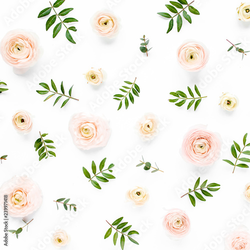 Fototapety, obrazy: Floral background texture made of pink ranunculus flower buds and eucalyptus branches on white background.  Flat lay, top view floral background.