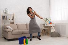 Spring Cleaning Woman Singing Fun Using Mop