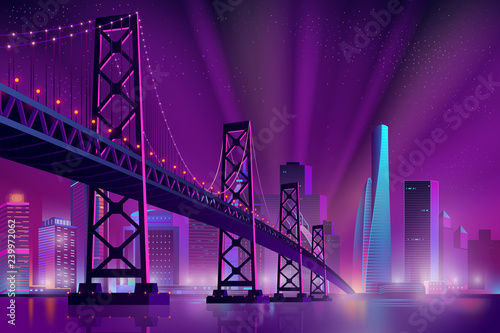 Poster Violet Modern metropolis night cityscape neon colors cartoon vector with skyscrapers on sea, river shore, suspension bridge across bay and projectors rays directed in starry sky illustration. City night life