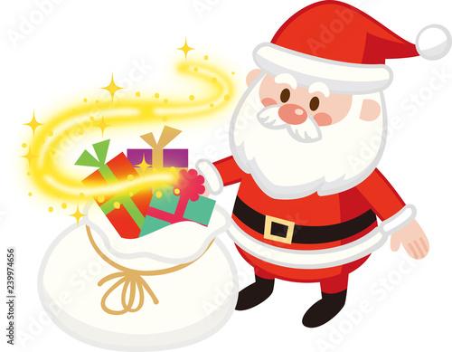 キラキラ光るサンタバッグと可愛いサンタクロース クリスマスプレゼント