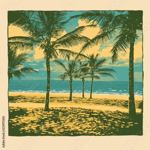 Plakaty do gabinetu tropical-idyllic-landscape-with-palms-trees-and-beach-vector-illustration