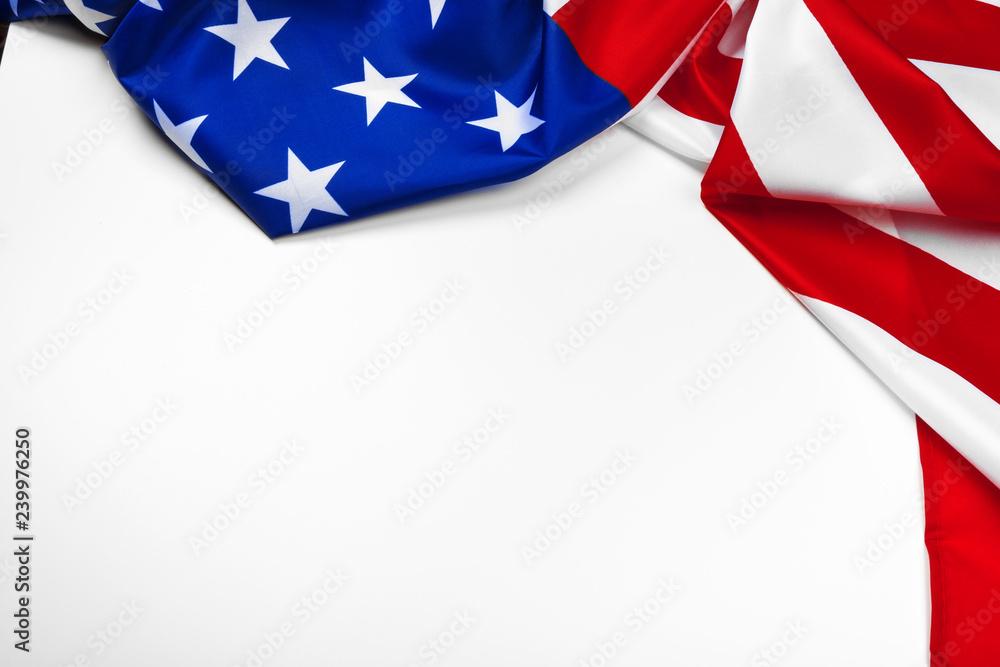 Fototapety, obrazy: United States of American flag isolated on white background