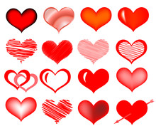 Set Of Vector Hearts. Hand Drawn Vector Illustration. Red Scribble Hearts Isolated On White.