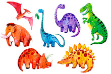Set Of Cartoon Watercolor Dino...