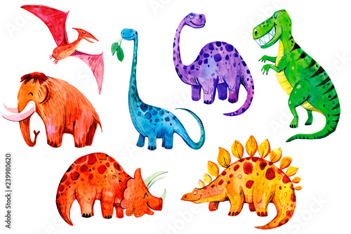 Set of cartoon watercolor dinosaurs Canvas Print