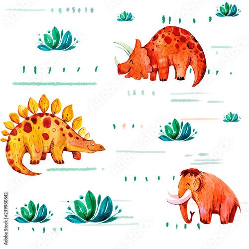 Photo  Seamless pattern with cartoon dinosaurus