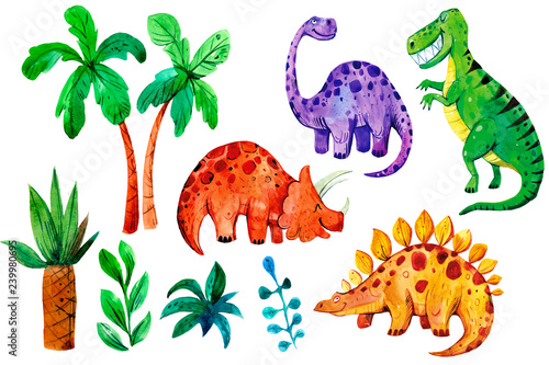 Set of cartoon watercolor dinosaurs. Hand drawn illustration. Great for children's textiles and printing.