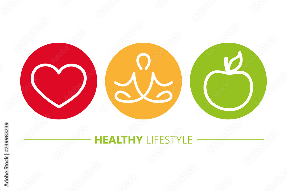 Fototapeta healthy lifestyle icons heart yoga and apple vector illustration EPS10