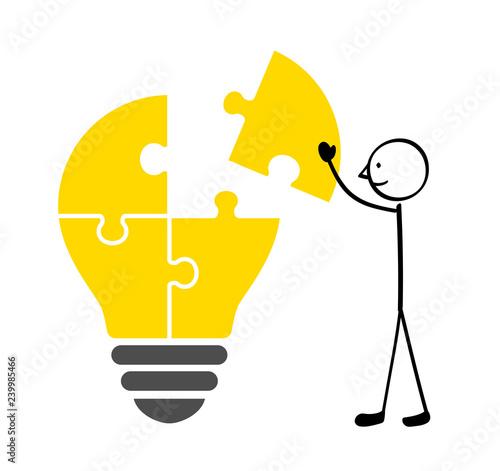 Obraz na plátně  Build up a light bulb puzzle