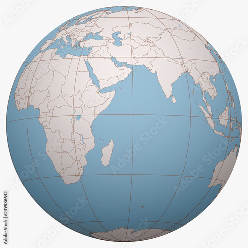 Seychelles On The Globe Earth Hemisphere Centered At The