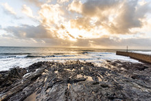 Winter Waves Cornwall Ocean Swell - Sunset At Porthleven