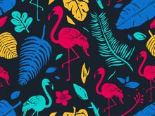 Stencil Tropical Flamingo Seam...