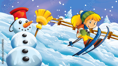 Cartoon winter nature scene with happy snowman and child girl skiing - illustration for children
