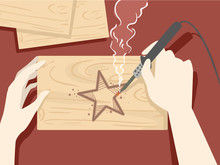 Hands Wood Burning Illustration