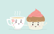 Mascot Tea Cup Cake Illustration