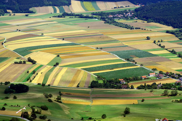 Austria, aerial view with different fields