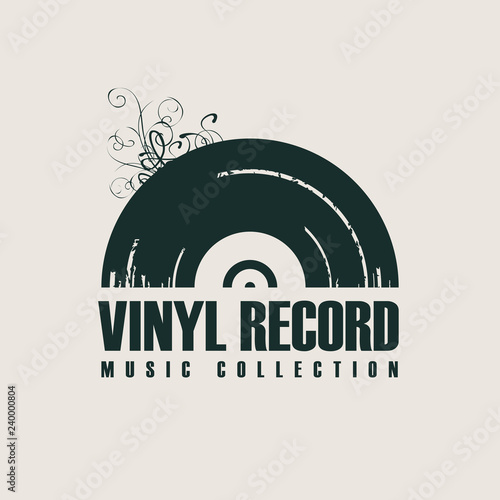 Plakaty Gatunki Muzyczne   vector-music-icon-or-logo-with-black-vinyl-record-in-retro-style-with-words-vinyl-record-music-collection