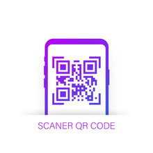 Qr Code Scanning Like Linear Black Phone. Concept Of Pixel Art Square, Product, Promotion Label, Telephone, Screen, Device