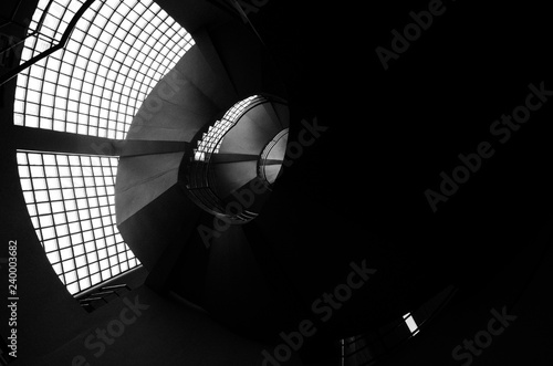 Fotografie, Obraz  Beautiful and hypnotic spiral convoluted staircase, wide angle