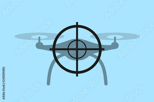 Drone is shot down by gun - defensive protection against invasive flying aerial machine Canvas Print