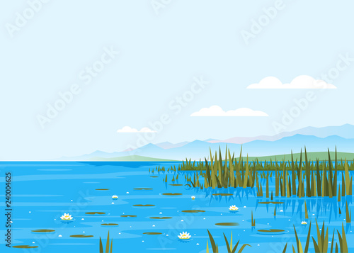 Poster Bleu Lake with water lily and bulrush plants nature landscape illustration, fishing place, pond with blue water and mountains in distance, lake travel background picturesque terrain on a windless day