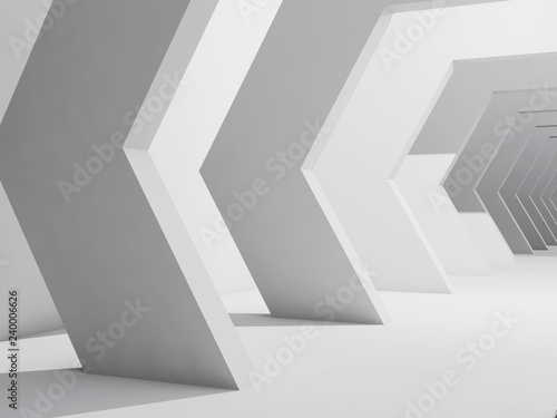 Abstract interior background, white corridor 3 d - 240006626