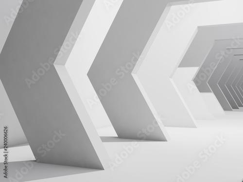 Fotografie, Obraz  Abstract interior background, white corridor 3 d