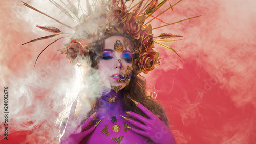 Fototapety, obrazy: Bright Halloween image, Mexican style with sugar skulls on face. Young beautiful woman bright daring image