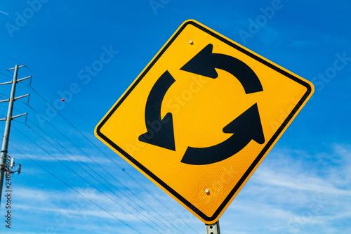 Fotografie, Obraz  Yellow Traffic Circle  Ahead Sign