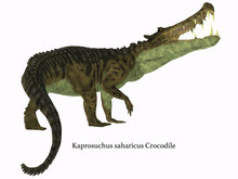 Kaprosuchus Reptile Tail With Font - Kaprosuchus Was A Carnivorous Crocodile That Lived In Niger, Africa During The Cretaceous Period.