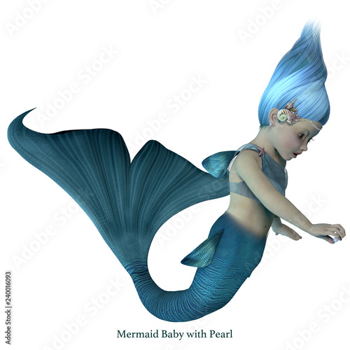 Foto op Plexiglas Zeemeermin Mermaid Baby with Pearl with Font - A cute illustration of an infant mermaid holding a sea pearl.