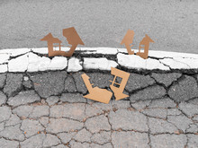 Cracked Cardboard Houses On Cracked Land After Earthquake Destroyed Buildings Insurance Concept
