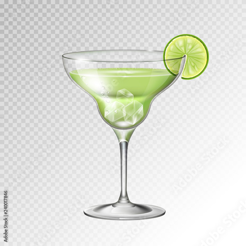 Cuadros en Lienzo Realistic cocktail margarita glass vector illustration on transparent background
