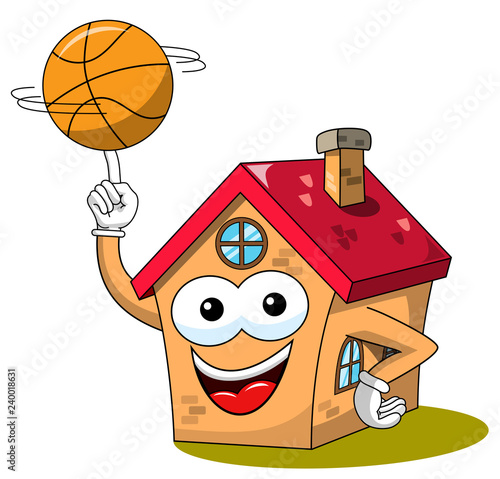 Happy House Cartoon Funny Character Player Basketball Ball Isolated Buy This Stock Illustration And Explore Similar Illustrations At Adobe Stock Adobe Stock