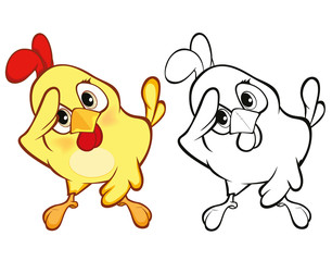 Vector llustration of a Cute Little Chicken Cartoon Character. Coloring Book
