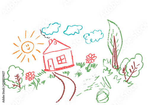 Acrylic Prints Birds in cages Children's drawings. Elements for the design of postcards, backgrounds, packaging. Prints for clothes. Drawing of wax crayons on a white background. Sun, clouds, trees, flowers, house