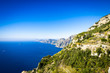 Italian Rocky coastline with blue Mediterranean sea, Amalfi coast